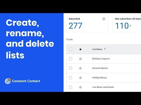 Create, rename, and delete contact lists   Constant Contact